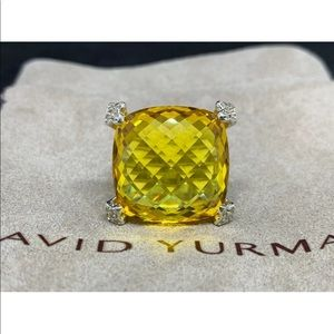 David Yurman cushion cut lemon citrine/ diamonds